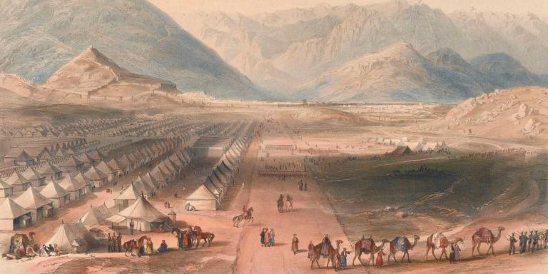 Encampment of General Nott's Kandahar force outside the wall of Kabul on the British evacuation of Afghanistan, October 1842