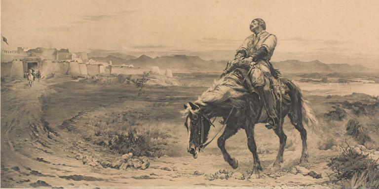 Dr William Brydon arriving at the gates of Jalalabad fortress, 1842