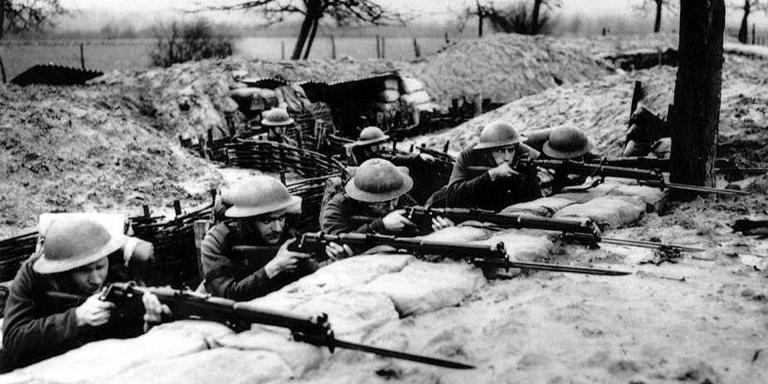 British troops in the trenches with fixed bayonets, France, c1939