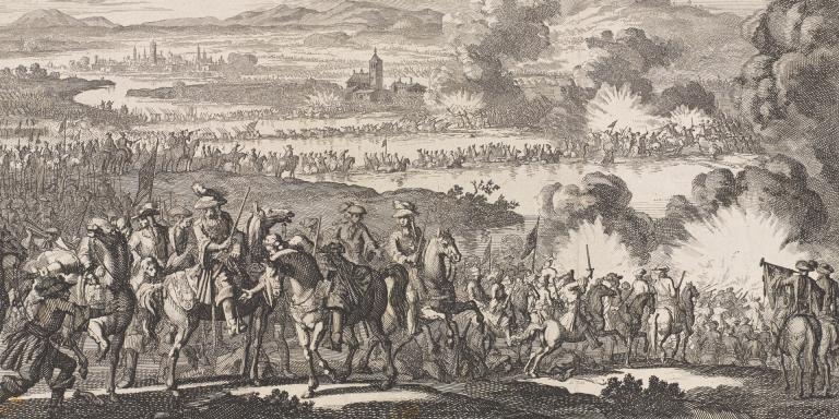 King William III being wounded by a cannon ball which grazed his leg, taking off a piece of his boot, at the Boyne in 1690