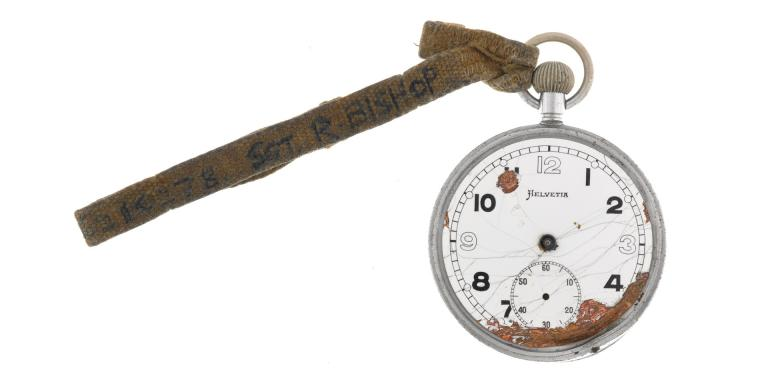 Broken Army issue fob watch belonging to Sergeant Roy Bishop, Middlesex Regiment (Duke of Cambridge's Own), c1944
