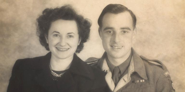 Sergeant Roy Bishop with his wife, Gwyn, shortly after their marriage, 1945