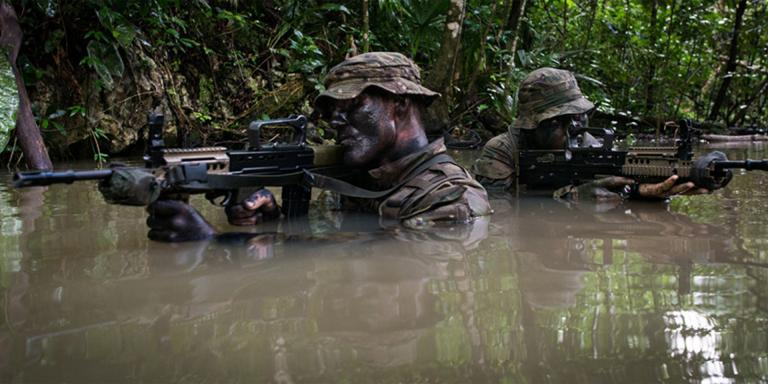 Soldiers from 1st Battalion, Irish Guards jungle training, Belize, 2016