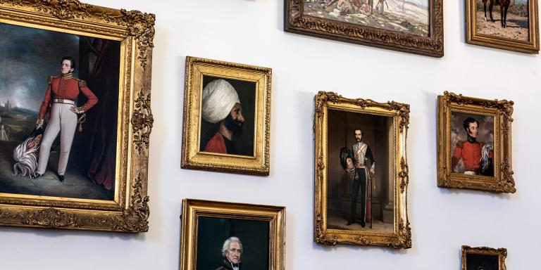 Portraits on display in the Indian Army Memorial Room, Sandhurst