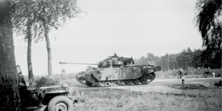 A BAOR Centurion tank on exercises near Bispingen, West Germany, 1953