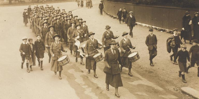 WAAC unit marching, led by their corps band, c1917