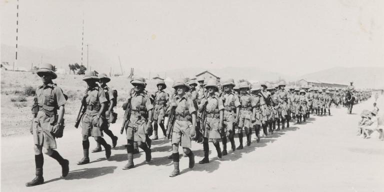 'A' Company, 2nd Battalion, The South Lancashire Regiment (Prince of Wales's Volunteers), marching to Kuchlagh Camp in Baluchistan, 1937