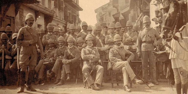 Men of the Royal Dublin Fusiliers on duty during house-to-house visitations, Bombay, 1897