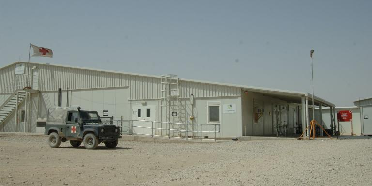 The exterior of Camp Bastion Hospital in Helmand, 2008