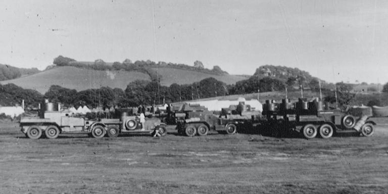 Lanchester and Rolls Royce armoured cars, Budleigh Salterton, Devon, 1938