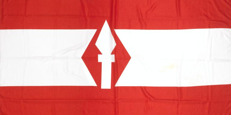 Last flag to fly over 1st British Corps Headquarters in Bielefeld, Germany, c1992