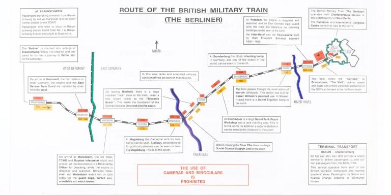 A page from the 'The Berliner' military train leaflet, highlighting key sites en route like crossing points and Soviet military facilities, c1991